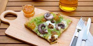 terra aqua ricette dallo chef secondi piatti pinsa romana con polpo all'arancia marmellate e confetture
